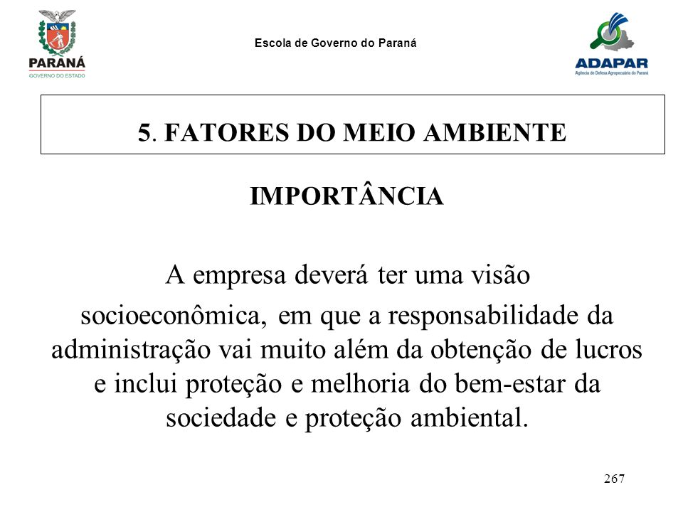5. FATORES DO MEIO AMBIENTE