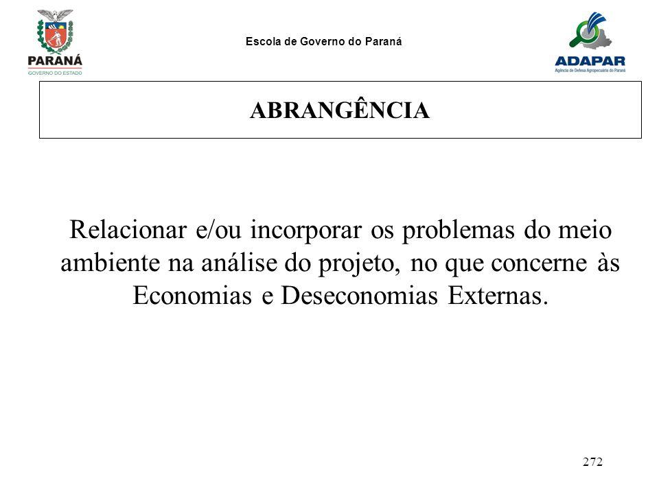 ABRANGÊNCIA Relacionar e/ou incorporar os problemas do meio ambiente na análise do projeto, no que concerne às Economias e Deseconomias Externas.