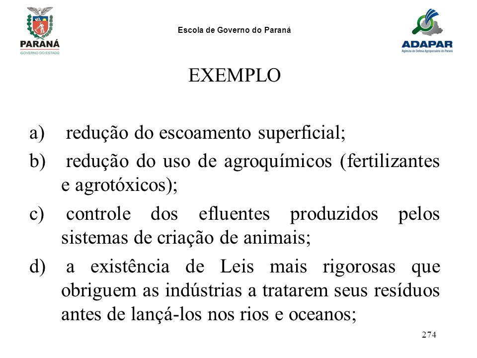 EXEMPLO redução do escoamento superficial; redução do uso de agroquímicos (fertilizantes e agrotóxicos);