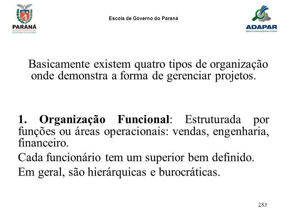 Basicamente existem quatro tipos de organização onde demonstra a forma de gerenciar projetos.
