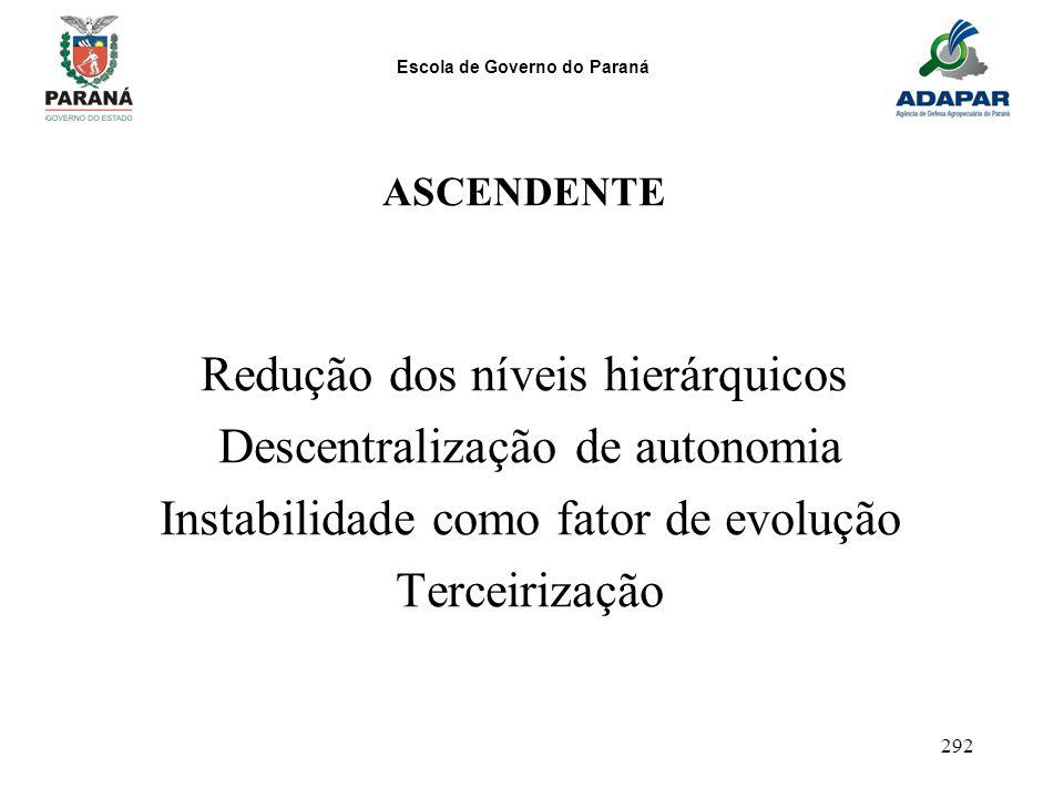 Redução dos níveis hierárquicos Descentralização de autonomia