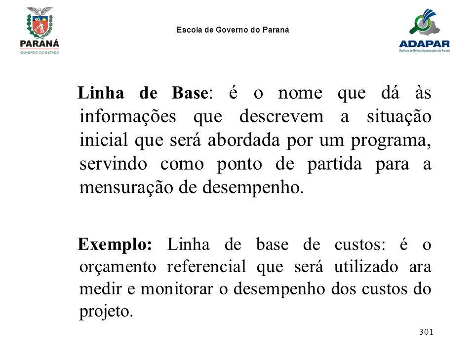 Linha de Base: é o nome que dá às informações que descrevem a situação inicial que será abordada por um programa, servindo como ponto de partida para a mensuração de desempenho.