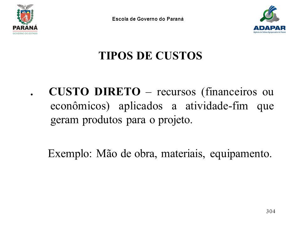 TIPOS DE CUSTOS . CUSTO DIRETO – recursos (financeiros ou econômicos) aplicados a atividade-fim que geram produtos para o projeto.