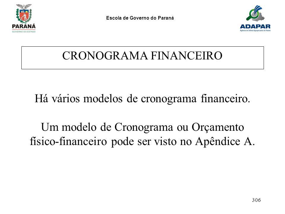 CRONOGRAMA FINANCEIRO Há vários modelos de cronograma financeiro