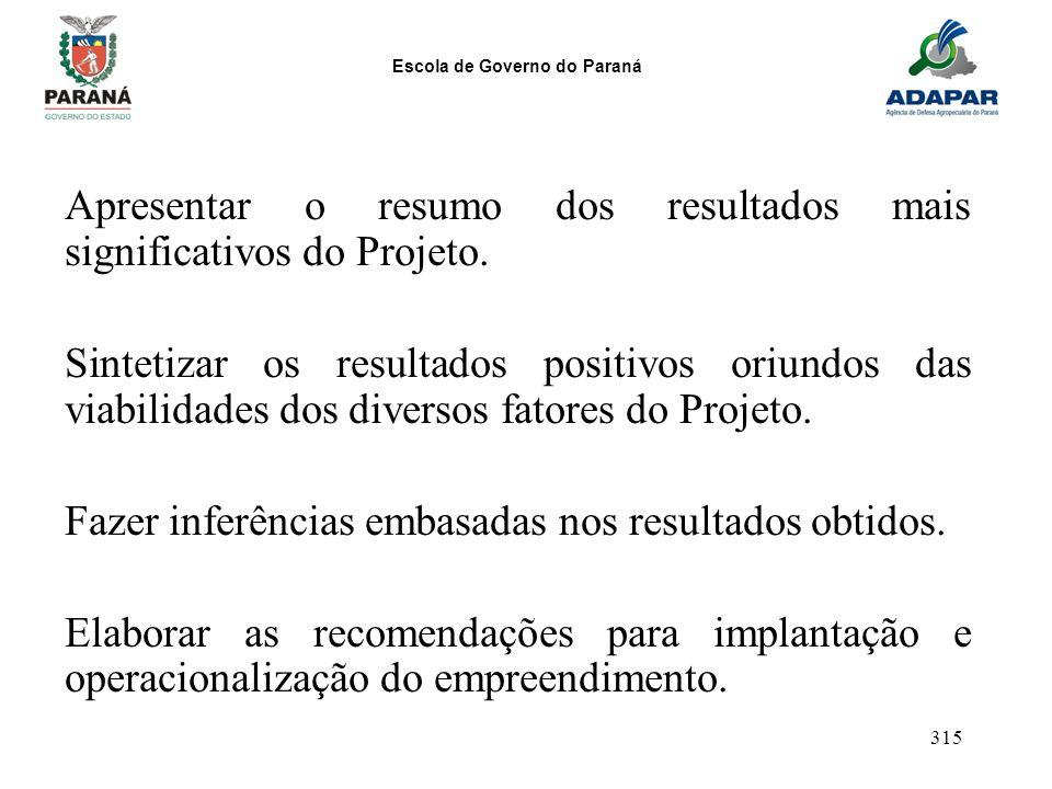 Apresentar o resumo dos resultados mais significativos do Projeto.