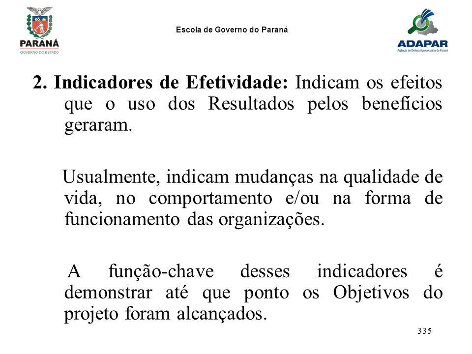 2. Indicadores de Efetividade: Indicam os efeitos que o uso dos Resultados pelos benefícios geraram.