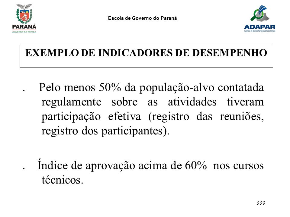 EXEMPLO DE INDICADORES DE DESEMPENHO