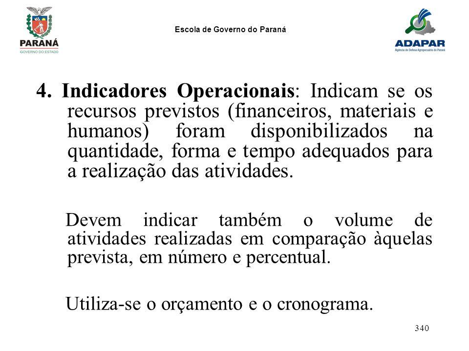 4. Indicadores Operacionais: Indicam se os recursos previstos (financeiros, materiais e humanos) foram disponibilizados na quantidade, forma e tempo adequados para a realização das atividades.