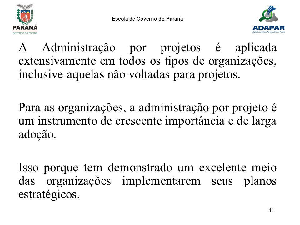 A Administração por projetos é aplicada extensivamente em todos os tipos de organizações, inclusive aquelas não voltadas para projetos.