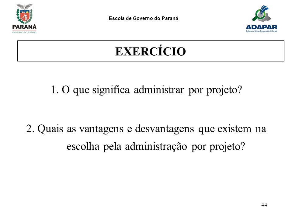 1. O que significa administrar por projeto