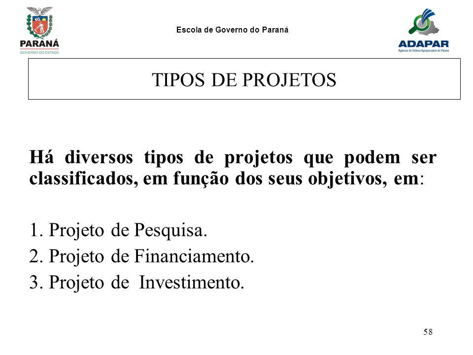 TIPOS DE PROJETOS Há diversos tipos de projetos que podem ser classificados, em função dos seus objetivos, em: