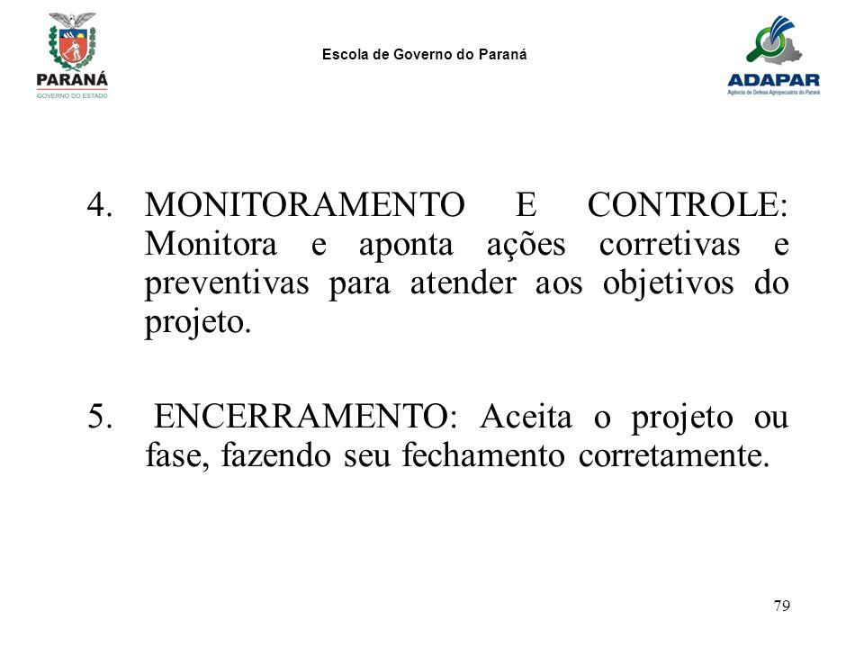 MONITORAMENTO E CONTROLE: Monitora e aponta ações corretivas e preventivas para atender aos objetivos do projeto.