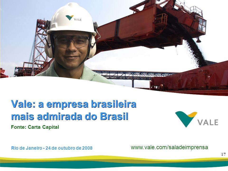 Vale: a empresa brasileira mais admirada do Brasil