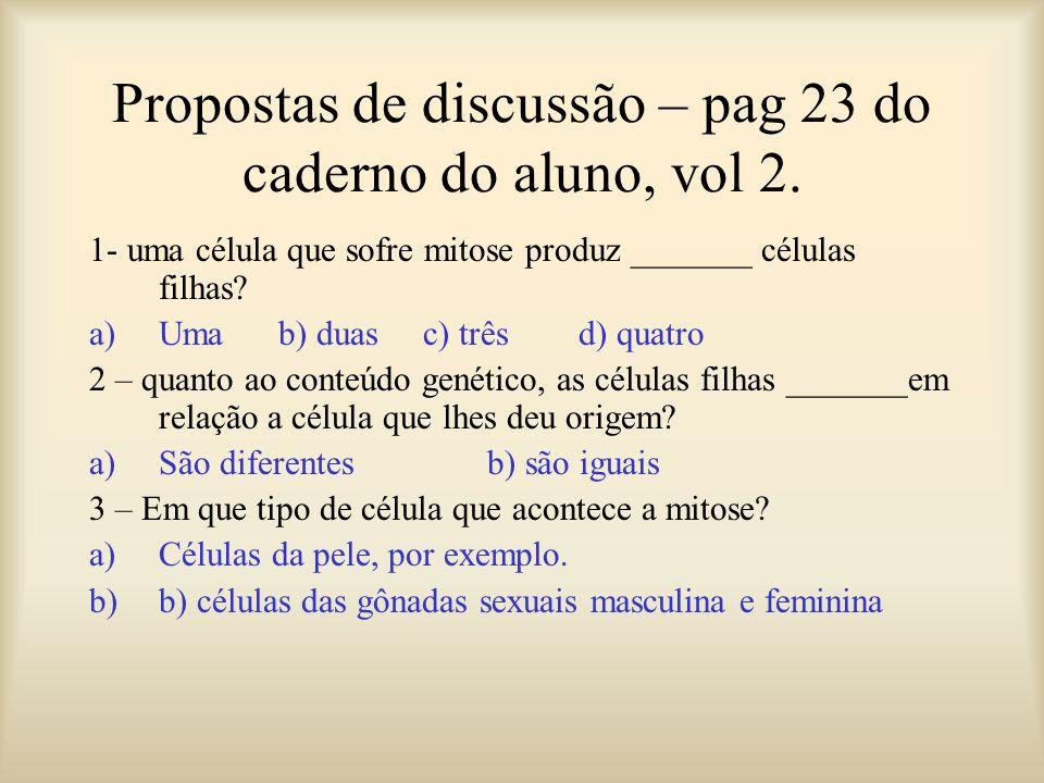 Propostas de discussão – pag 23 do caderno do aluno, vol 2.