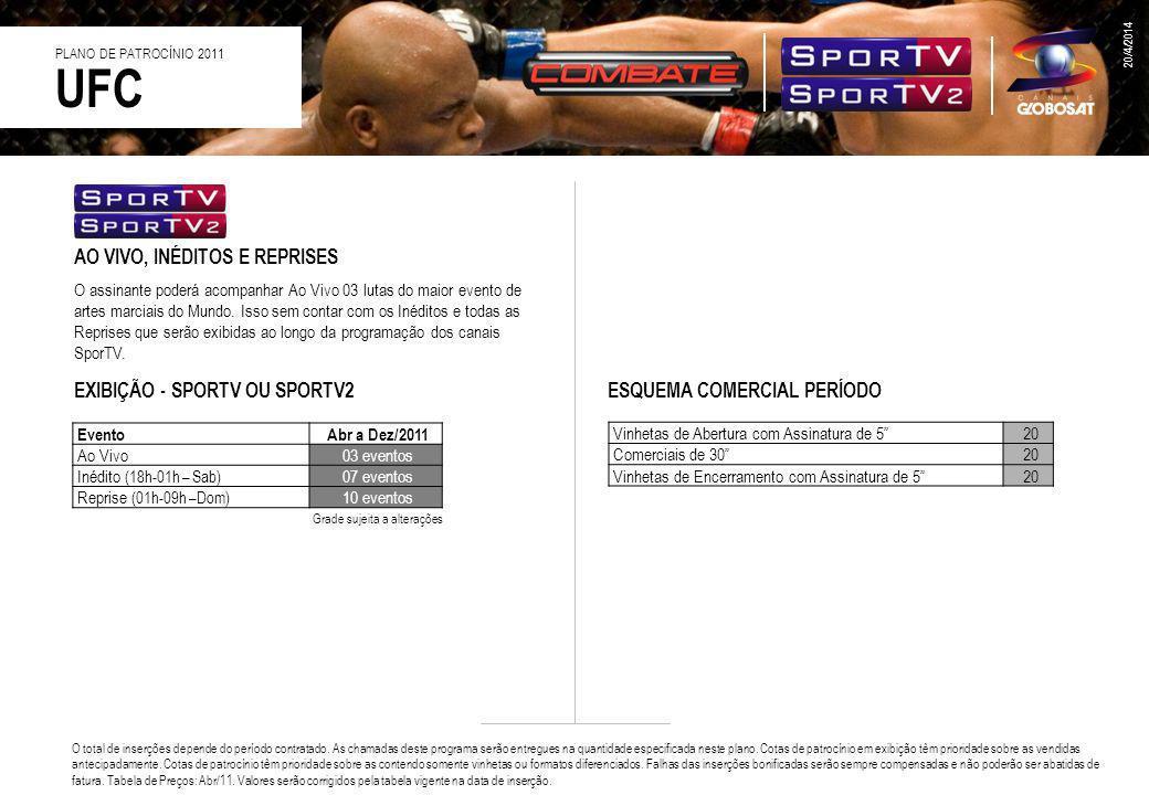 UFC AO VIVO, INÉDITOS E REPRISES EXIBIÇÃO - SPORTV OU SPORTV2