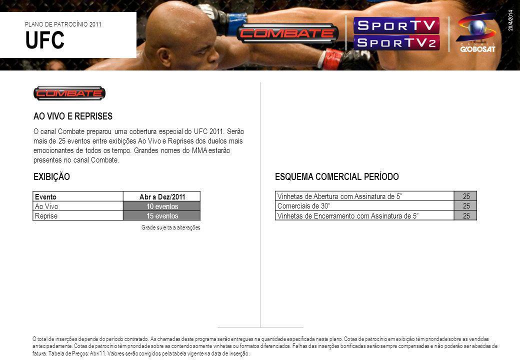 UFC AO VIVO E REPRISES EXIBIÇÃO ESQUEMA COMERCIAL PERÍODO