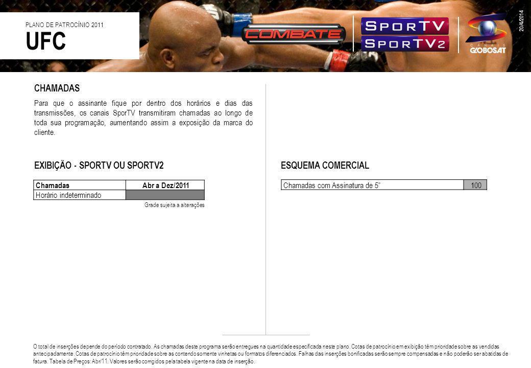 UFC CHAMADAS EXIBIÇÃO - SPORTV OU SPORTV2 ESQUEMA COMERCIAL