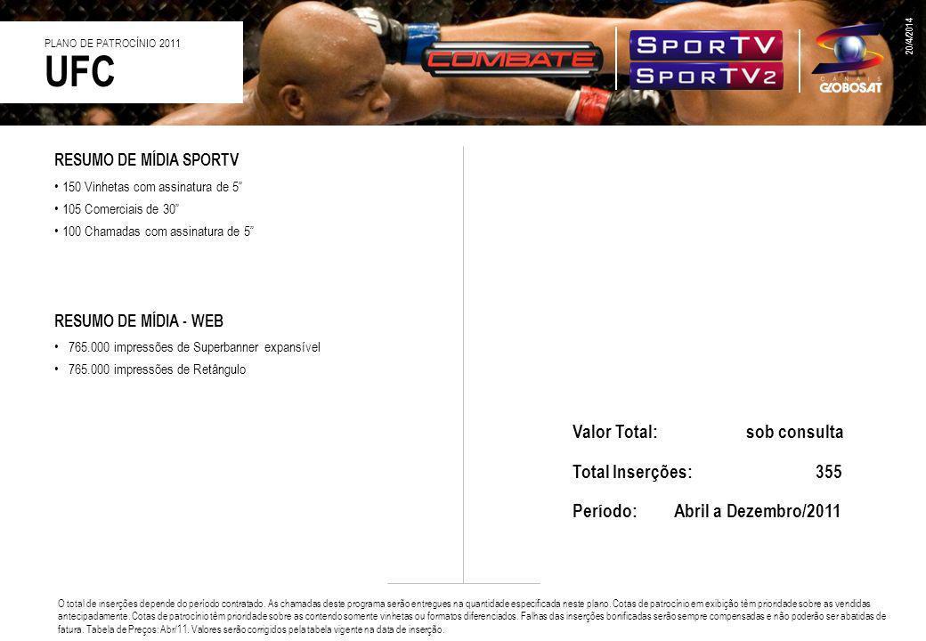 UFC Valor Total: sob consulta Total Inserções: 355