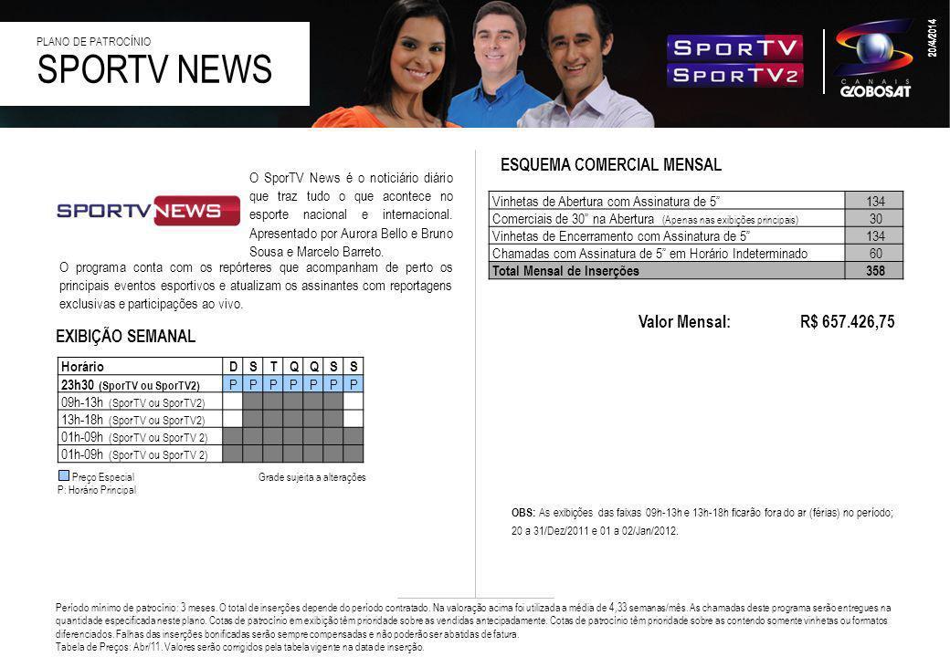 SPORTV NEWS ESQUEMA COMERCIAL MENSAL Valor Mensal: R$ 657.426,75