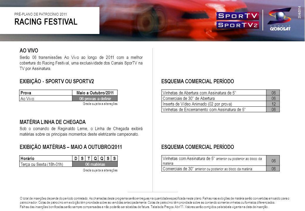 RACING FESTIVAL AO VIVO EXIBIÇÃO - SPORTV OU SPORTV2