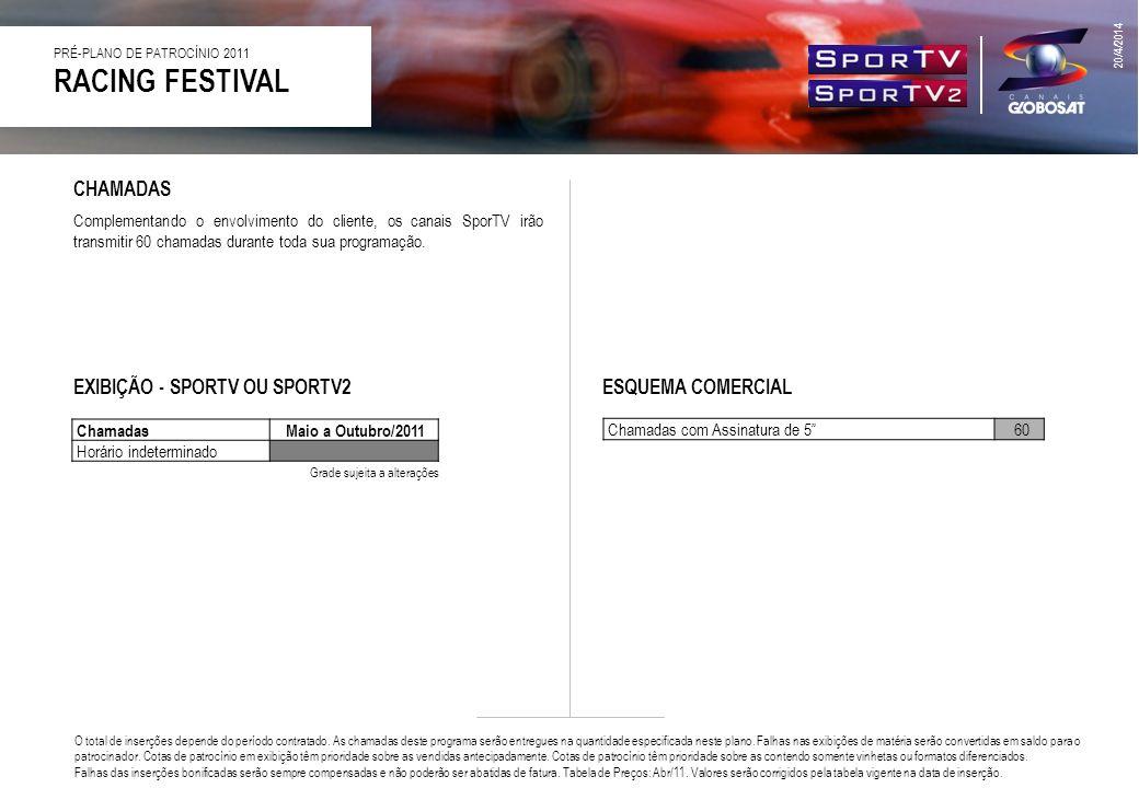 RACING FESTIVAL CHAMADAS EXIBIÇÃO - SPORTV OU SPORTV2