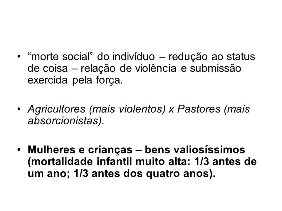 morte social do indivíduo – redução ao status de coisa – relação de violência e submissão exercida pela força.