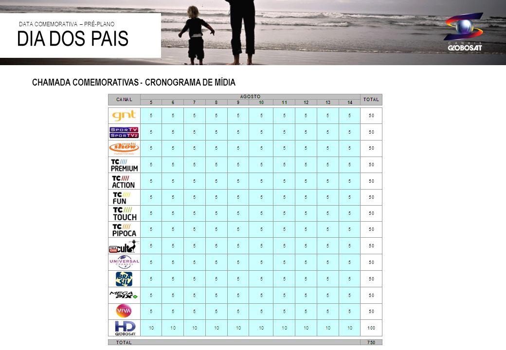 DIA DOS PAIS CHAMADA COMEMORATIVAS - CRONOGRAMA DE MÍDIA