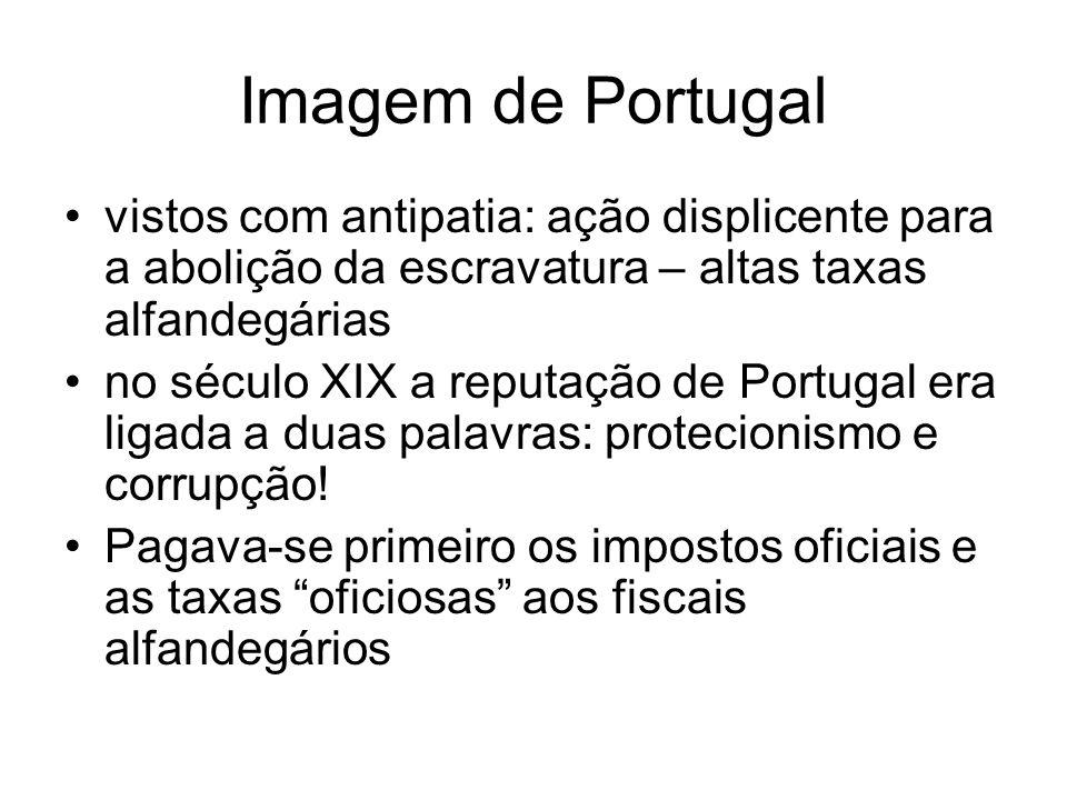 Imagem de Portugal vistos com antipatia: ação displicente para a abolição da escravatura – altas taxas alfandegárias.