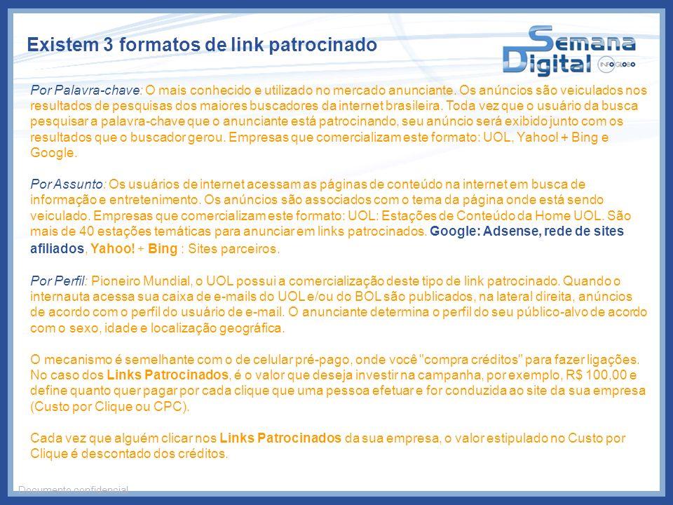 Existem 3 formatos de link patrocinado