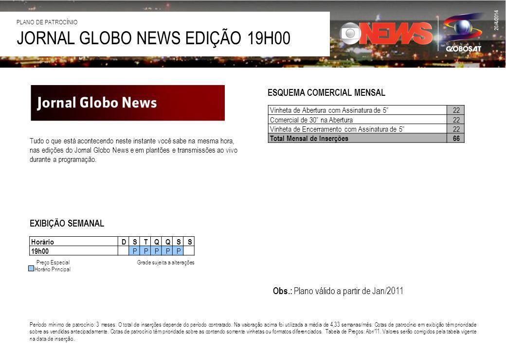 JORNAL GLOBO NEWS EDIÇÃO 19H00