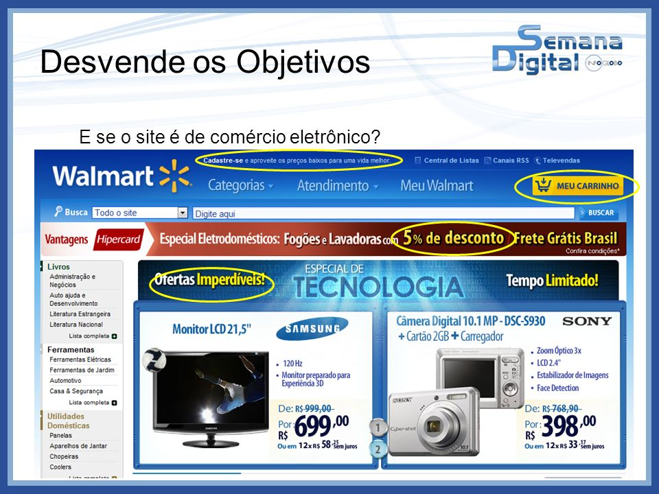 Desvende os Objetivos E se o site é de comércio eletrônico Produtos Promoções Cadastros