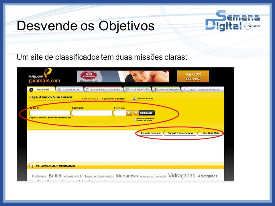 Desvende os Objetivos Um site de classificados tem duas missões claras: Adquirir anunciantes Gerar visitas aos anunciantes