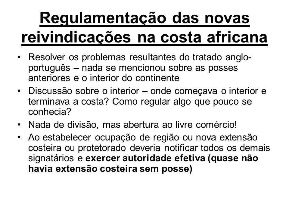 Regulamentação das novas reivindicações na costa africana