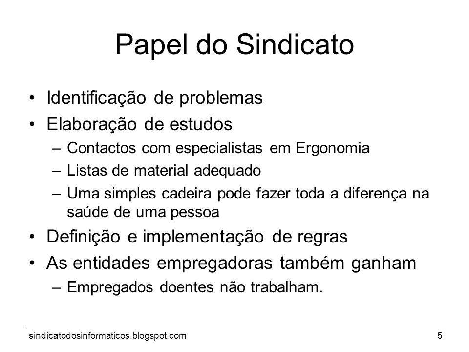 Papel do Sindicato Identificação de problemas Elaboração de estudos