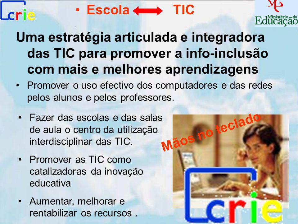 Escola TIC Uma estratégia articulada e integradora das TIC para promover a info-inclusão com mais e melhores aprendizagens.