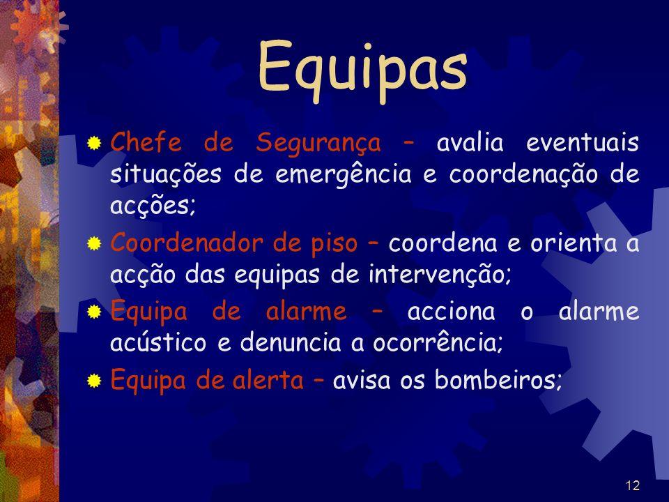 Equipas Chefe de Segurança – avalia eventuais situações de emergência e coordenação de acções;