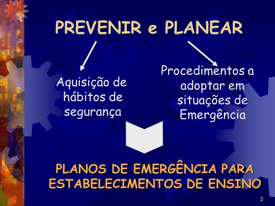 PLANOS DE EMERGÊNCIA PARA ESTABELECIMENTOS DE ENSINO