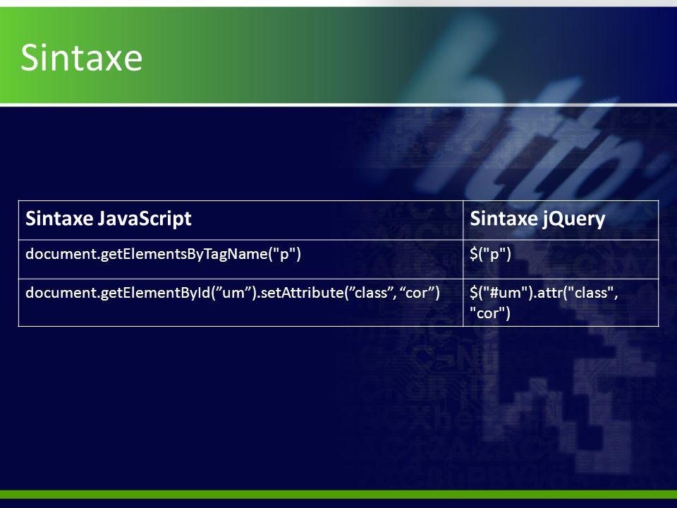 Sintaxe Sintaxe JavaScript Sintaxe jQuery