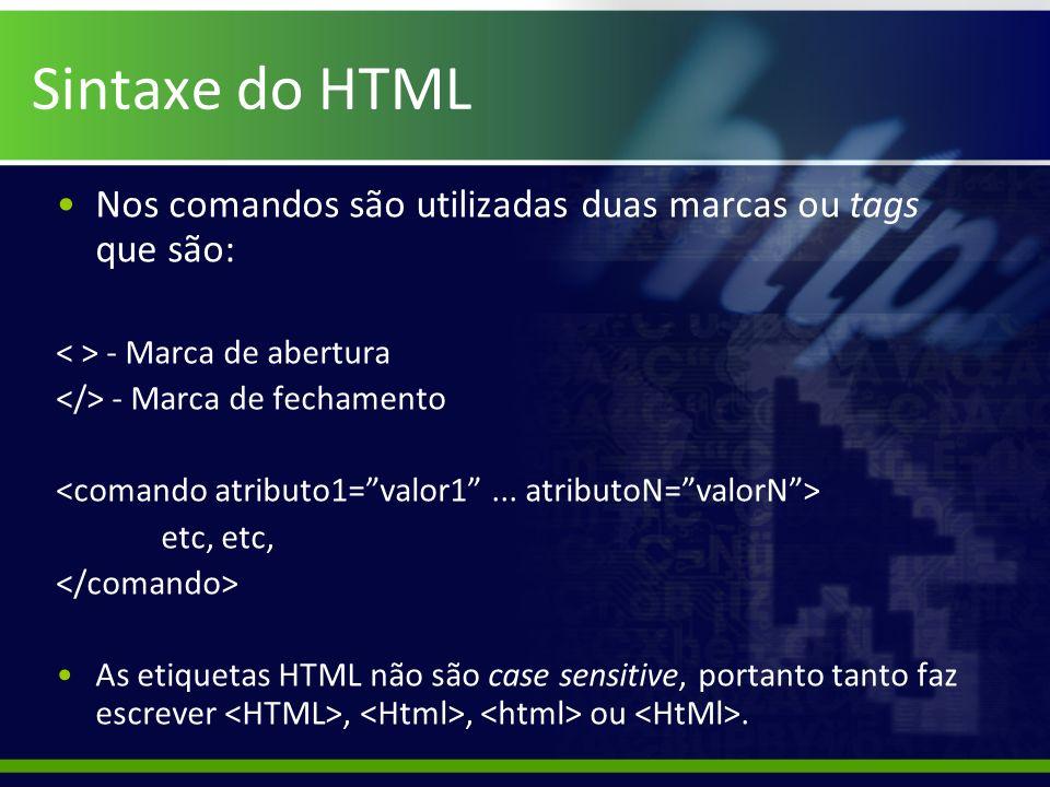 Sintaxe do HTML Nos comandos são utilizadas duas marcas ou tags que são: < > - Marca de abertura. </> - Marca de fechamento.