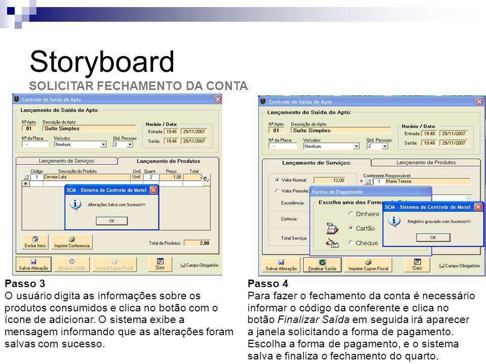 Storyboard SOLICITAR FECHAMENTO DA CONTA Passo 3