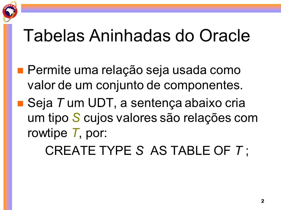 Tabelas Aninhadas do Oracle