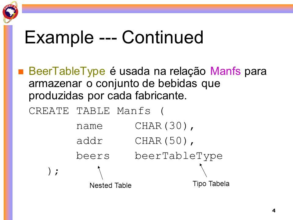 Example --- Continued BeerTableType é usada na relação Manfs para armazenar o conjunto de bebidas que produzidas por cada fabricante.