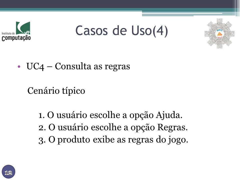 Casos de Uso(4) UC4 – Consulta as regras Cenário típico
