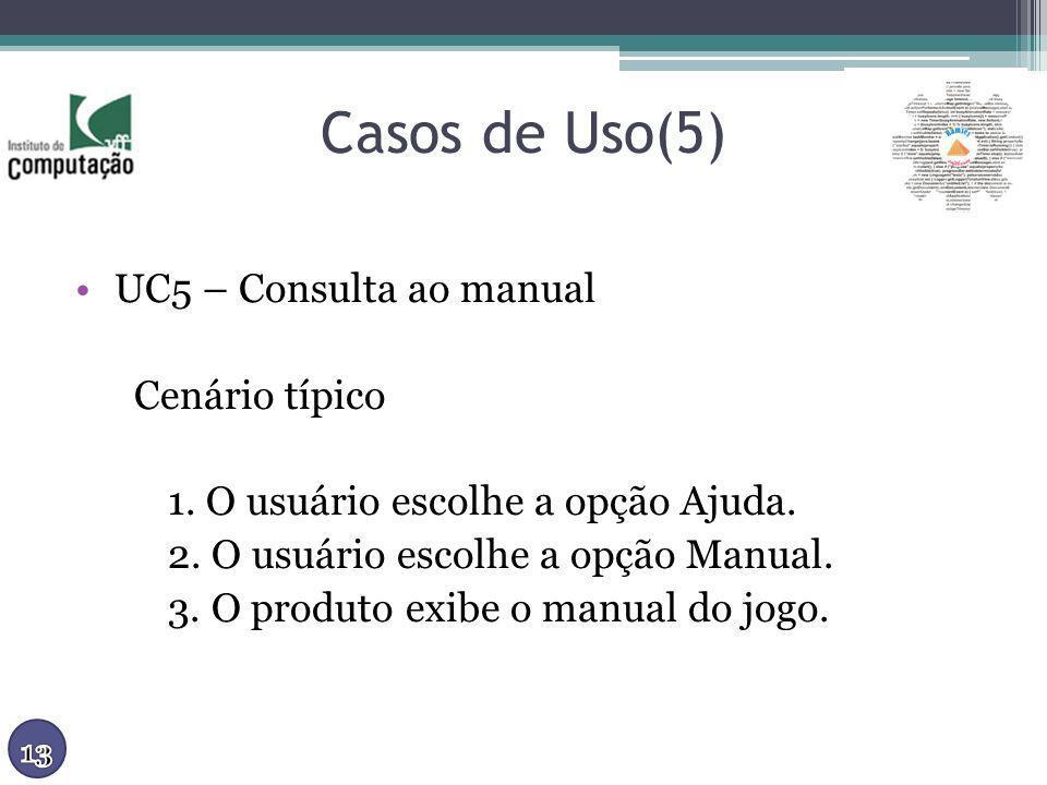 Casos de Uso(5) UC5 – Consulta ao manual Cenário típico