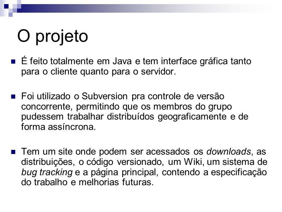 O projetoÉ feito totalmente em Java e tem interface gráfica tanto para o cliente quanto para o servidor.