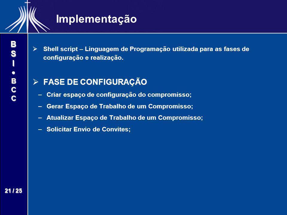Implementação FASE DE CONFIGURAÇÃO