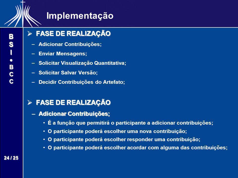 Implementação FASE DE REALIZAÇÃO Adicionar Contribuições;