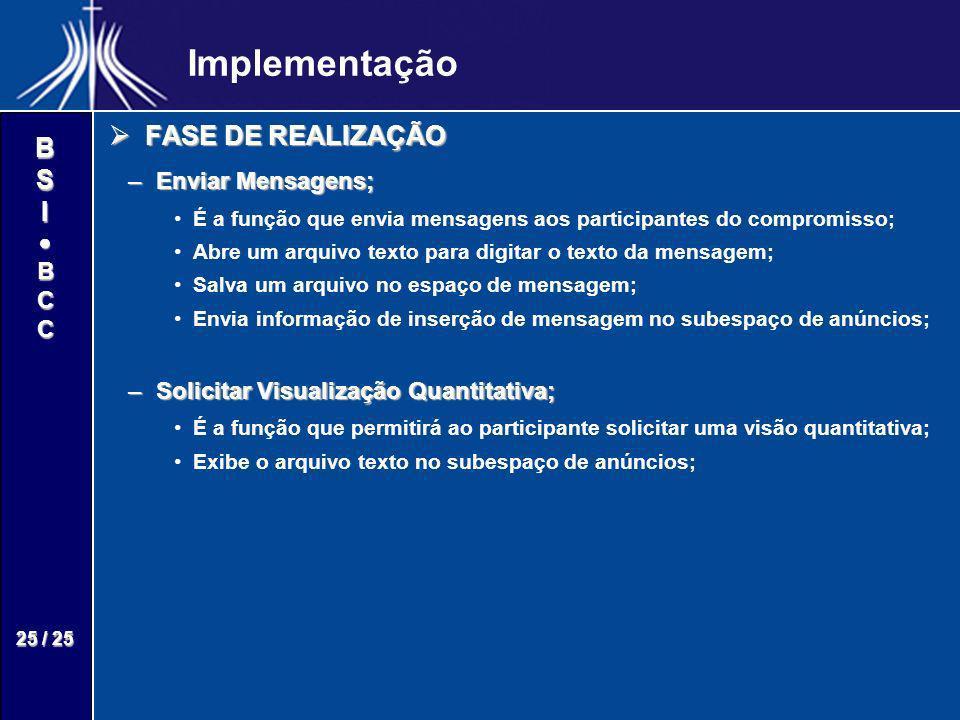 Implementação FASE DE REALIZAÇÃO Enviar Mensagens;