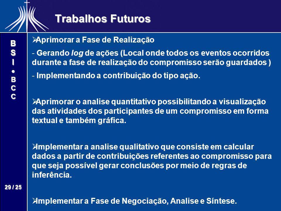 Trabalhos Futuros Aprimorar a Fase de Realização