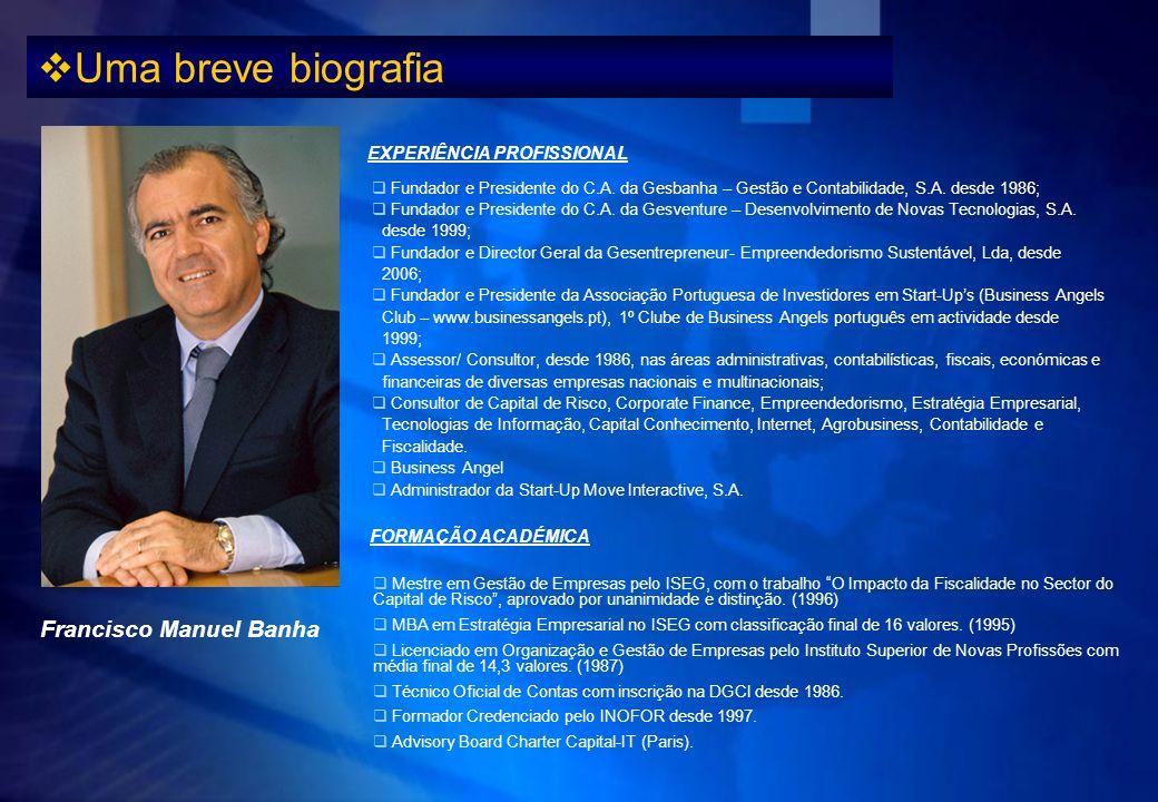 Uma breve biografia Francisco Manuel Banha EXPERIÊNCIA PROFISSIONAL